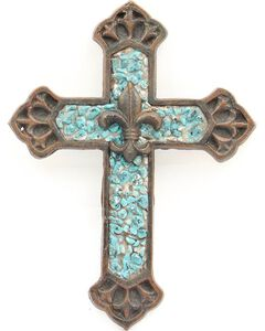 Western Moments Turquoise Stone Fleur-De-Lis Wall Cross, , hi-res