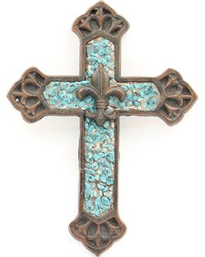 Western Moments Turquoise Stone Fleur-De-Lis Wall Cross, Turquoise, hi-res