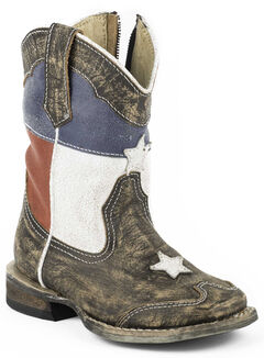 Roper Toddler Boys' Texas Flag Inside Zip Cowboy Boots - Square Toe, , hi-res
