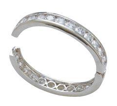 Montana Silversmiths Rhinestone Embellished Hinged Bangle Bracelet, , hi-res