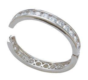 Montana Silversmiths Rhinestone Embellished Hinged Bangle Bracelet, Silver, hi-res