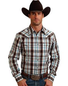 Stetson Men's Original Rugged Brown Plaid Print Western Shirt, , hi-res