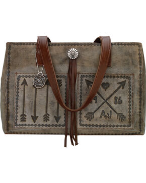 American West Charcoal Brown Cross My Heart Shopper Tote, Rustic Brn, hi-res