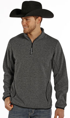 Powder River Outfitters Men's Charcoal Grey 1/4 Zip Pullover, , hi-res