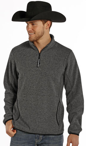 Powder River Outfitters Men's Charcoal Grey 1/4 Zip Pullover, Charcoal Grey, hi-res