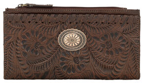 American West Women's Chestnut Tooled Foldover Snap Closure Wallet , Chestnut, hi-res