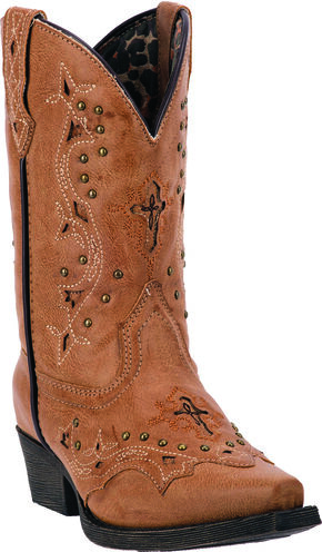 Laredo Girls' Xavi Cowgirl Boots - Snip Toe, Tan, hi-res