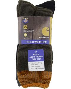 Carhartt Brown Arctic Thermal Crew Socks - 2 Pack, , hi-res