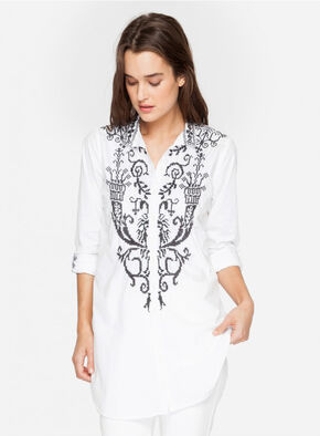 Johnny Was Women's White Alethea Poplin Blouse, White, hi-res