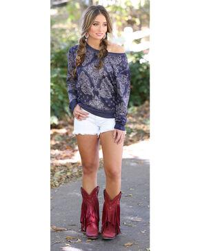 Wrangler Women's Slouchy Bandana Sweatshirt, Navy, hi-res