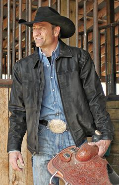 STS Ranchwear Men's Rifleman Black Leather Jacket - Big & Tall - 4XL, , hi-res