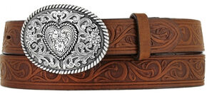 Justin Girls' Brown Trophy Heart Belt and Buckle , , hi-res