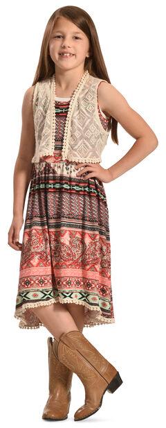 Jody of California Girls' Colorful Aztec Print Lace Dress , , hi-res