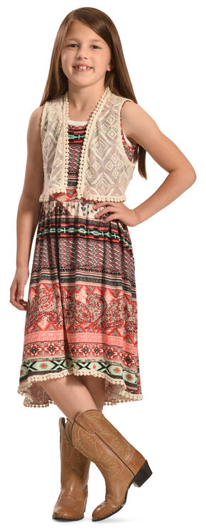 Jody of California Girls' Colorful Aztec Print Lace Dress , Purple, hi-res