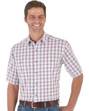 Wrangler Men's Red & White Plaid Rugged Wear Wicking Shirt, Red, hi-res