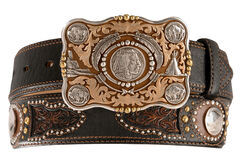 Tony Lama Heritage Buffalo Concho Leather Belt - Reg & Big, , hi-res