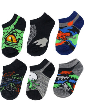 Game Sport Boys' Dinosaur No Show Socks, Multi, hi-res