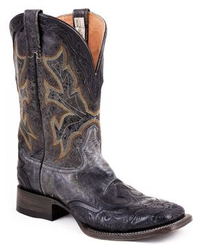 Stetson Hand Tooled Wingtip Cowboy Boots - Square Toe, Black, hi-res