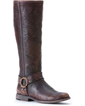Frye Women's Phillip Harness Riding Boots - Round Toe, Dark Brown, hi-res