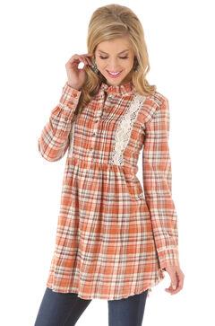 Wrangler Women's Crochet Plaid Tunic Dress, , hi-res