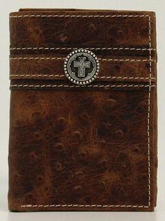 Ariat Ostrich Print Cross Concho Tri-fold Wallet, , hi-res