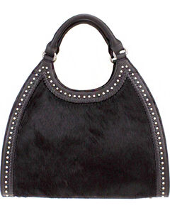 Montana West Delila Handbag 100% Genuine Leather Hair-On Hide Collection in Black, , hi-res