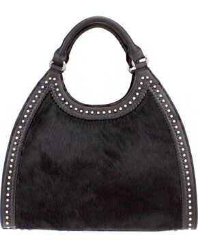 Montana West Delila Handbag 100% Genuine Leather Hair-On Hide Collection in Black, Black, hi-res