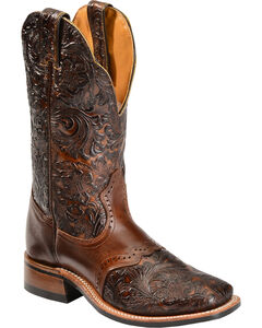 Boulet Hand Tooled Dankan Ranger Cowgirl Boots - Square Toe, , hi-res