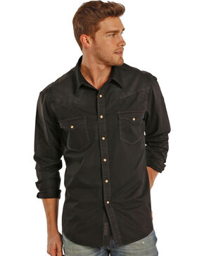 Rock & Roll Cowboy Men's Black Dyed Twill Western Shirt, Black, hi-res