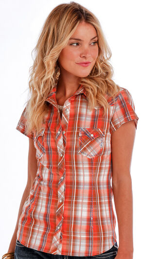 Panhandle Slim Women's Orange Cap Sleeve Plaid Shirt , Orange, hi-res