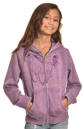 Cowgirl Hardware Girl's Purple Metallic Horse Full Zip Hoodie , Purple, hi-res