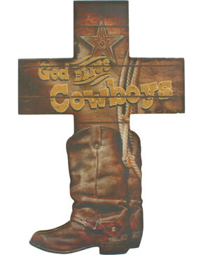 Western Moments God Bless Cowboys Wall Cross, Brown, hi-res