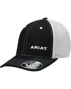 Ariat Men's Black Pinstripe Pattern Baseball Cap , , hi-res