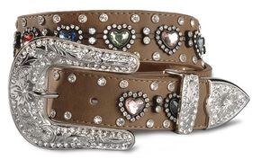 Nocona Girls' Heart Rhinestone Leather Belt -18-28, Brown, hi-res