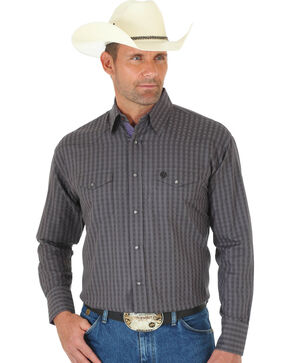 Wrangler George Strait Men's Troubadour Black & Grey Plaid Shirt, Black, hi-res
