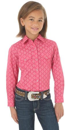 Wrangler Girls' Pink Printed Double Pocket Long Sleeve Western Top , , hi-res