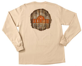 Realtree Men's Sand Brown Get Outdoors Long Sleeve T-Shirt , Sand, hi-res