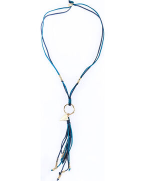 Sincerely Mary Women's Selen Suede Tassel Necklace, Blue, hi-res