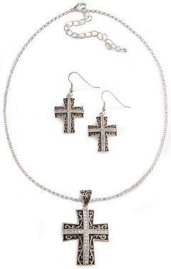 Montana Silversmiths Rhinestone Cross Necklace Set, Silver, hi-res