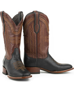 Stetson Men's Black Goat Vamp Western Boots - Square Toe , , hi-res