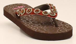 Blazin Roxx Marissa Girls' Flip Flops, Brown, hi-res