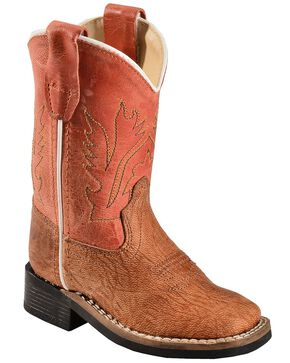 Old West Toddler Boys' Vintage Tan Cowboy Boots, Tan, hi-res