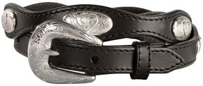 Women's Fancy Heart Conchos Scalloped Belt, Black, hi-res