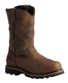 Justin Wyoming Waterproof Internal Met Guard Pull-On Work Boots - Composition Toe, Brown, hi-res