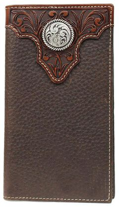 Ariat Tooled Overlay & Concho Rodeo Wallet, , hi-res