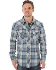 Wrangler Men's Blue Plaid Western Jean Shirt, , hi-res