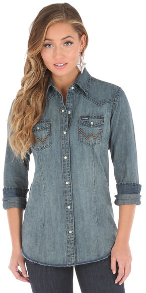 Wrangler Women's Long Sleeve Vintage Denim Shirt, Indigo, hi-res