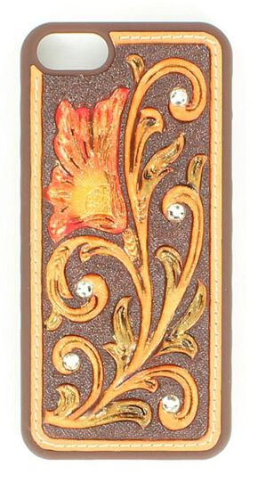 Floral Tooled with Rhinestones iPhone 5 Case, Red, hi-res
