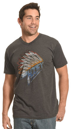 Hooey Men's Charcoal Indian Headdress V-Neck Tee, , hi-res