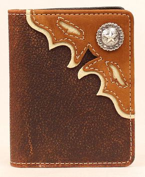 Nocona Cutout Leather Overlay Star Concho Bi-Fold Wallet, Med Brown, hi-res